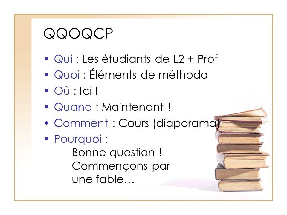 QQOQCP Qui : Les étudiants de L2 + Prof Quoi : Éléments de méthodo