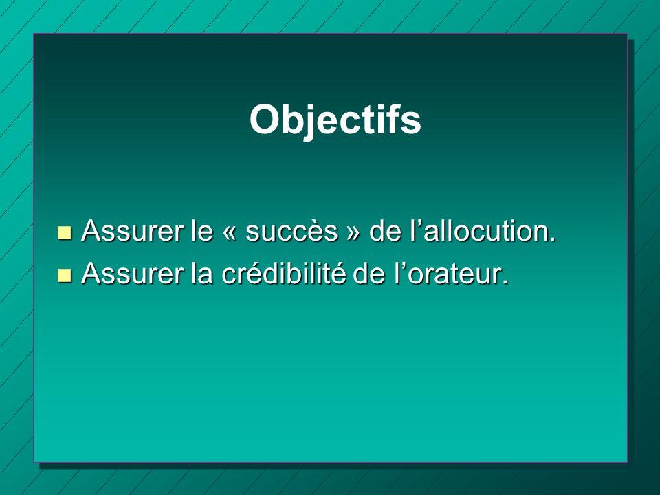 Objectifs Assurer le « succès » de l'allocution.