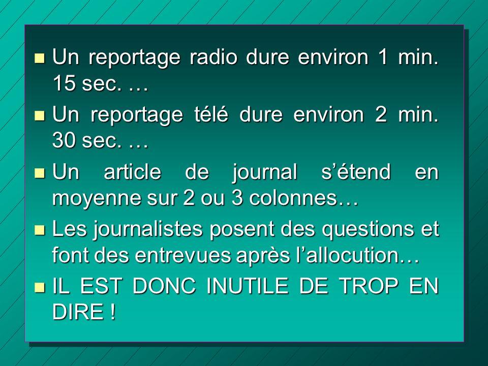 Un reportage radio dure environ 1 min. 15 sec. …