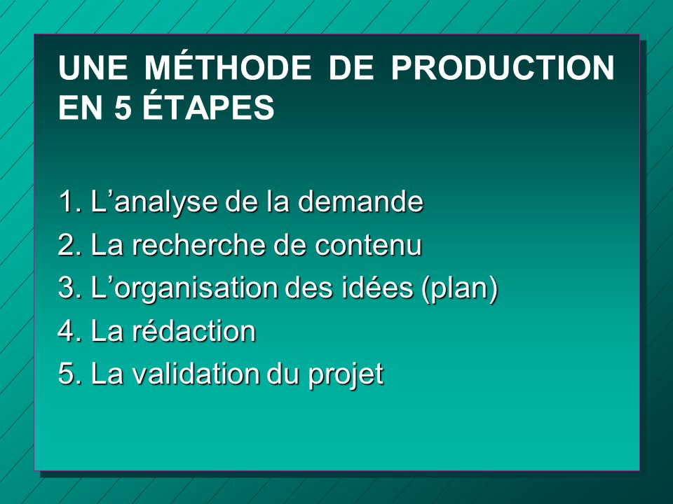 UNE MÉTHODE DE PRODUCTION EN 5 ÉTAPES