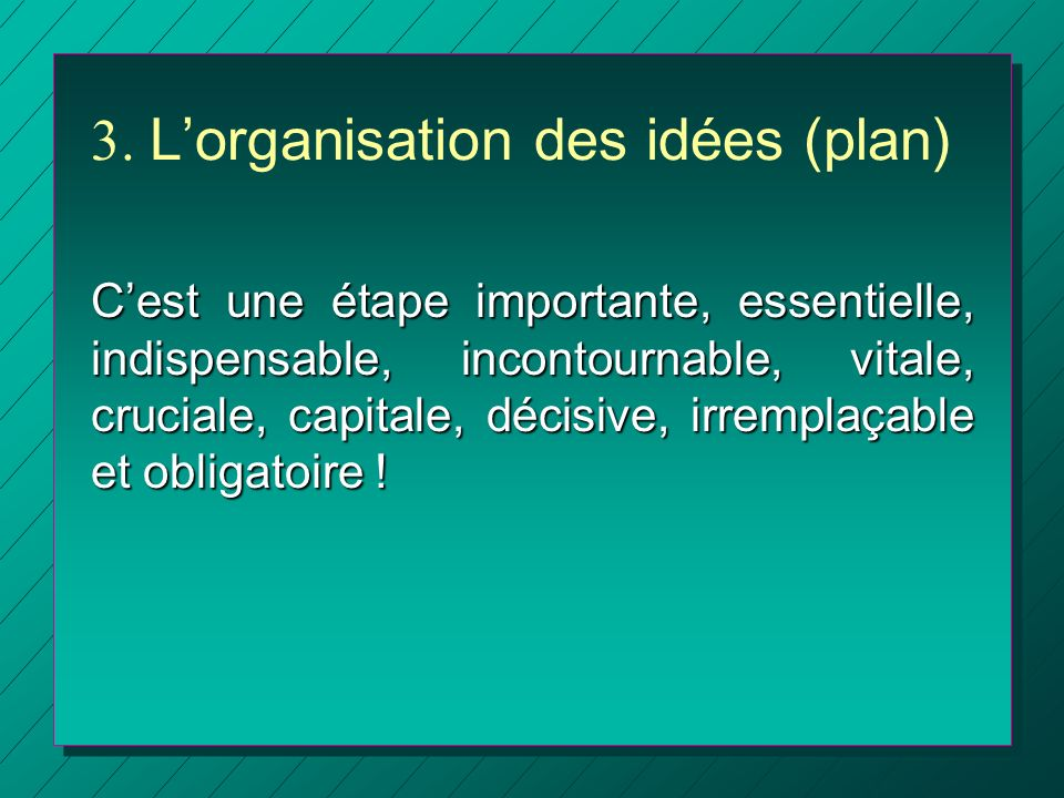 3. L'organisation des idées (plan)