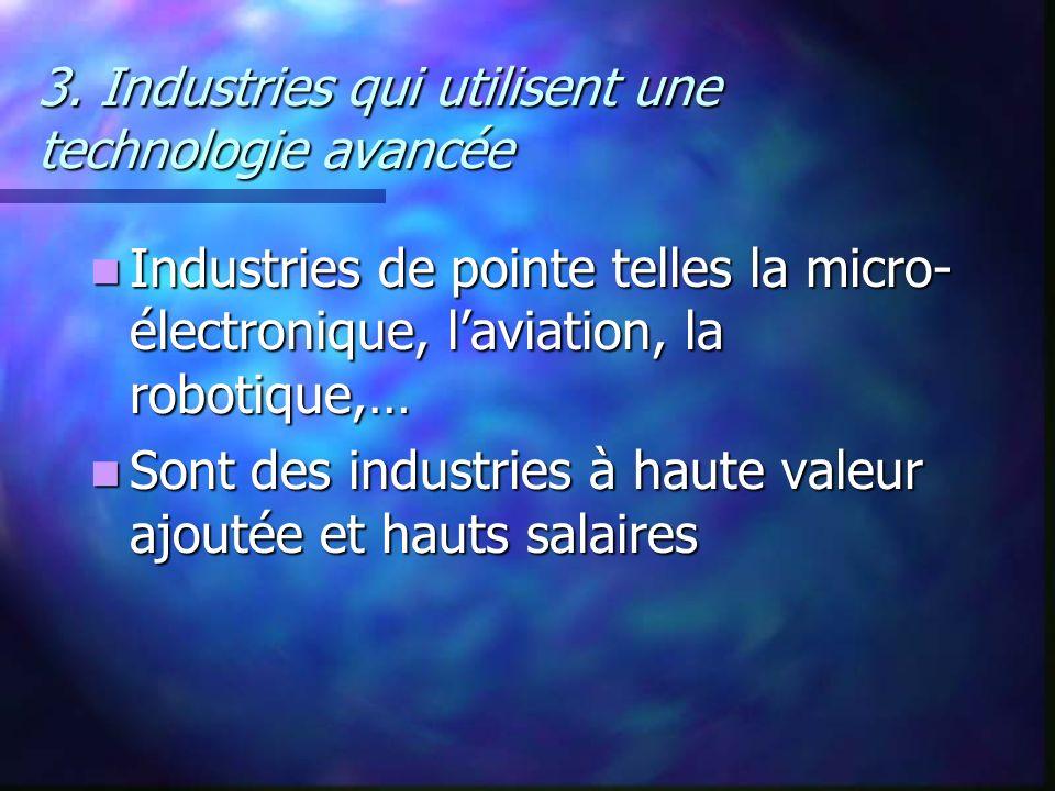 3. Industries qui utilisent une technologie avancée