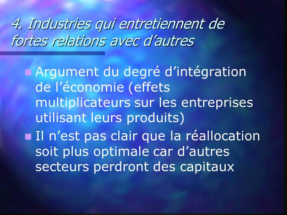 4. Industries qui entretiennent de fortes relations avec d'autres