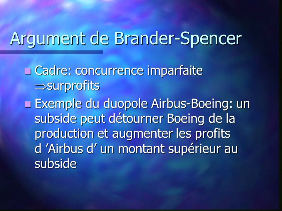 Argument de Brander-Spencer