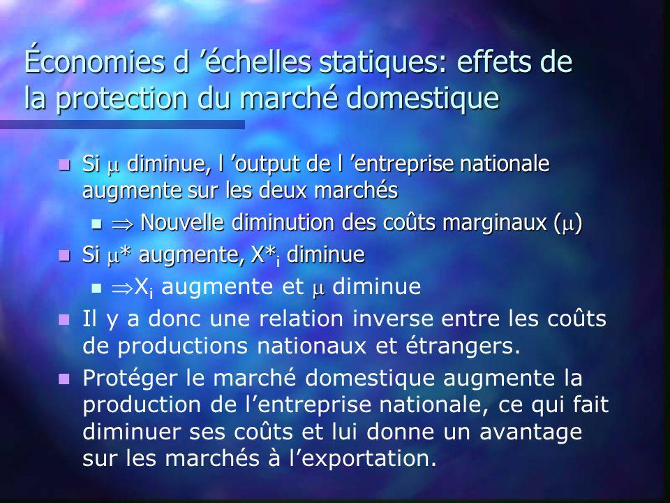 Économies d 'échelles statiques: effets de la protection du marché domestique
