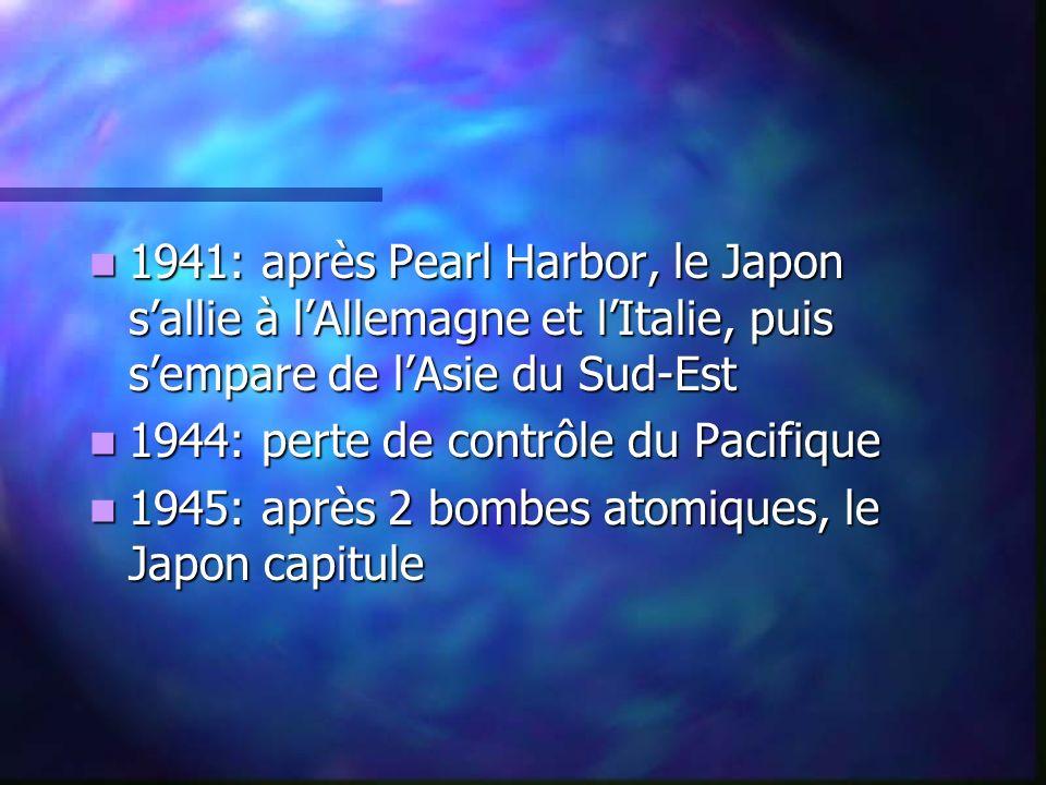 1941: après Pearl Harbor, le Japon s'allie à l'Allemagne et l'Italie, puis s'empare de l'Asie du Sud-Est