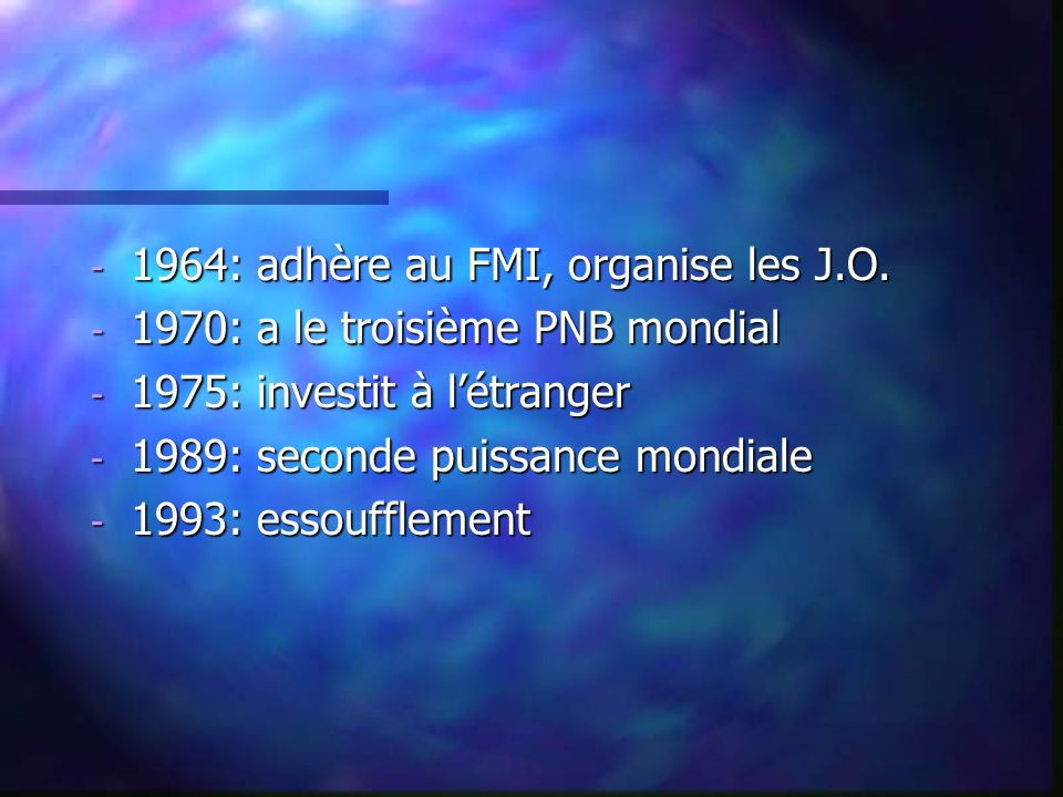 1964: adhère au FMI, organise les J.O.