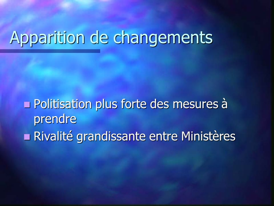 Apparition de changements