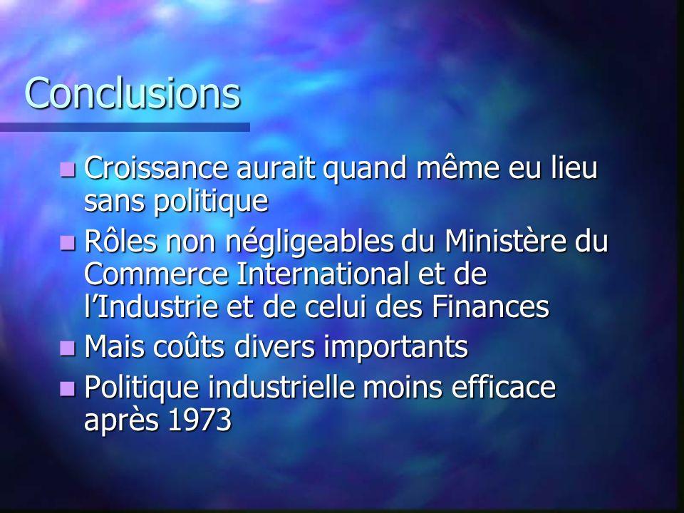 Conclusions Croissance aurait quand même eu lieu sans politique