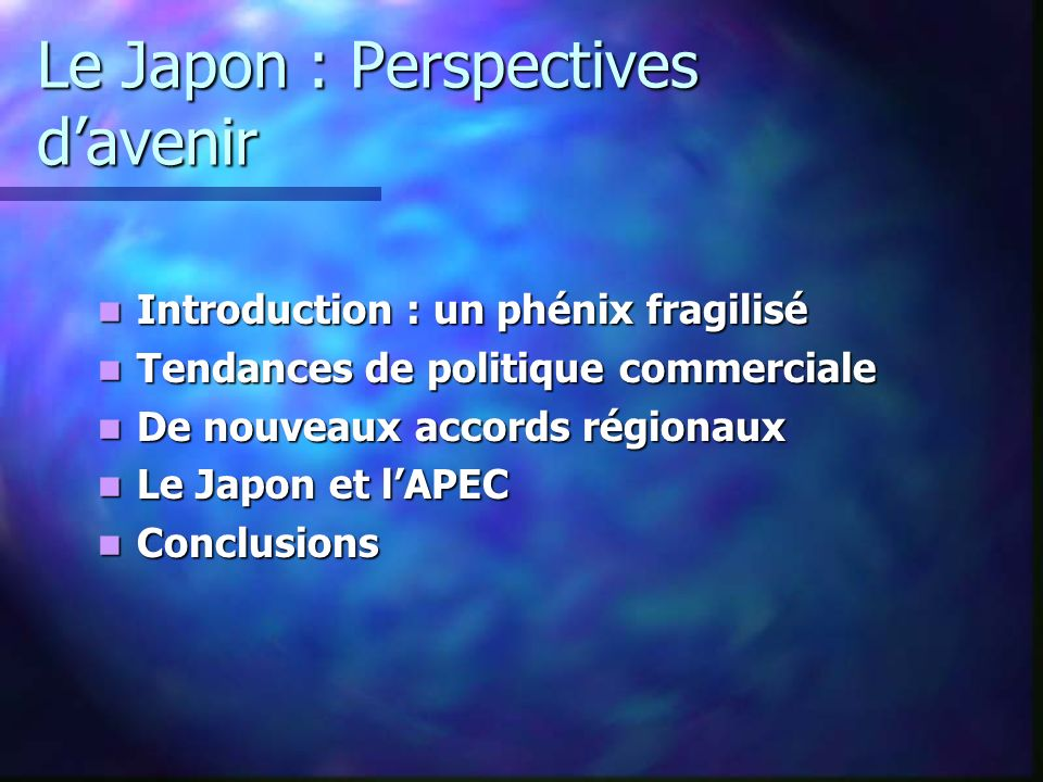Le Japon : Perspectives d'avenir