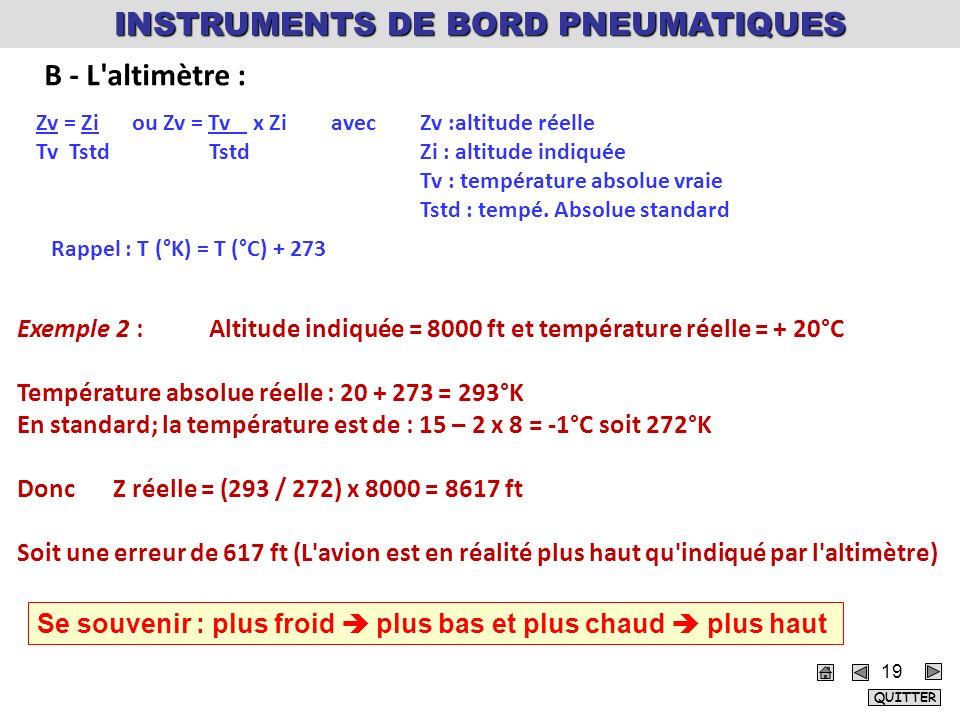 INSTRUMENTS DE BORD PNEUMATIQUES