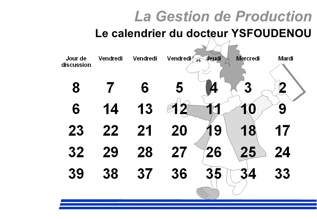 La Gestion de Production Le calendrier du docteur YSFOUDENOU