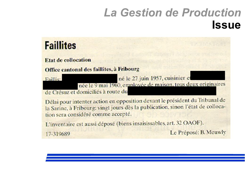 La Gestion de Production Issue