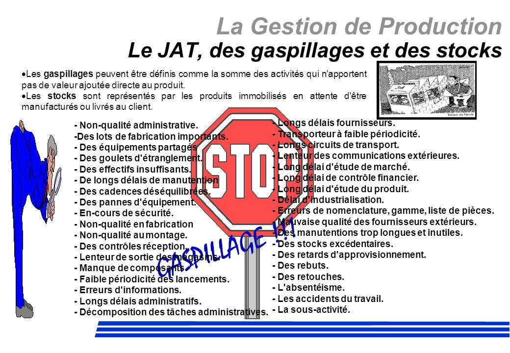 La Gestion de Production Le JAT, des gaspillages et des stocks