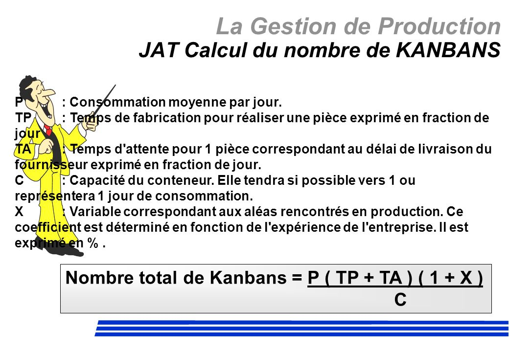 La Gestion de Production JAT Calcul du nombre de KANBANS