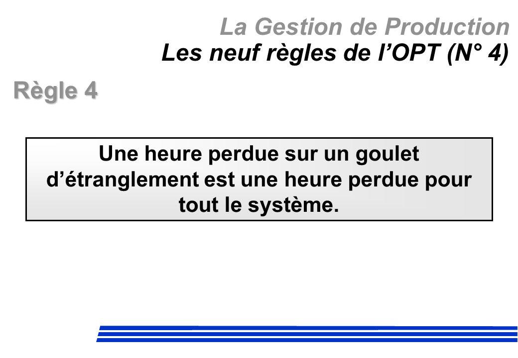 La Gestion de Production Les neuf règles de l'OPT (N° 4)
