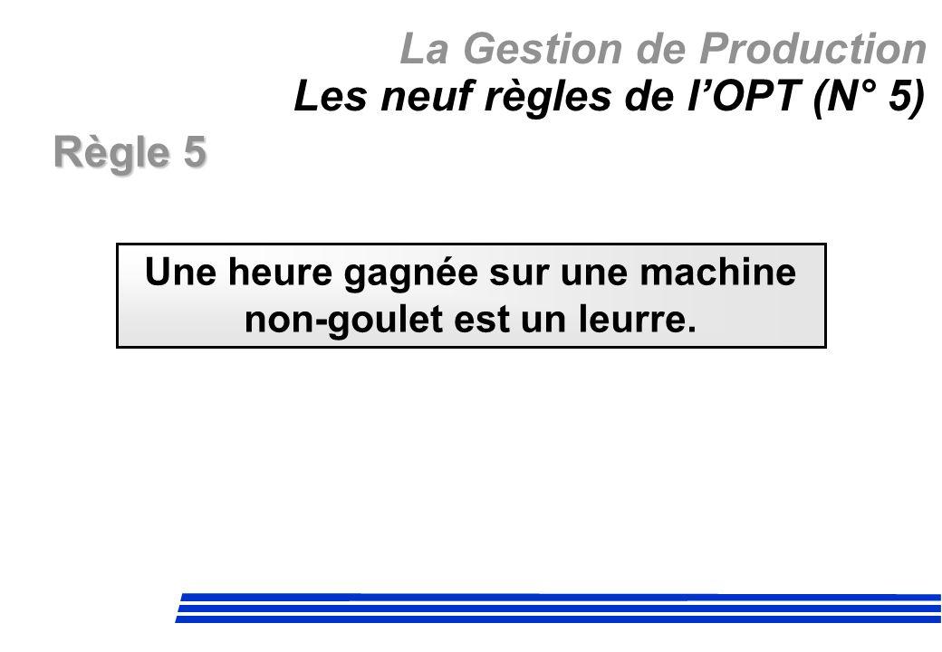 La Gestion de Production Les neuf règles de l'OPT (N° 5)