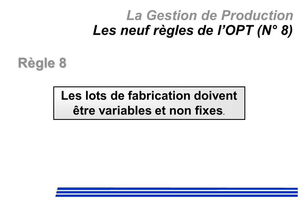 La Gestion de Production Les neuf règles de l'OPT (N° 8)