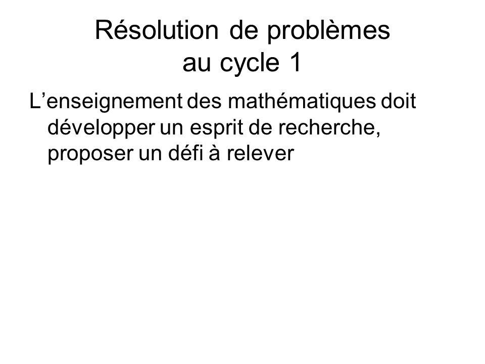 Résolution de problèmes au cycle 1