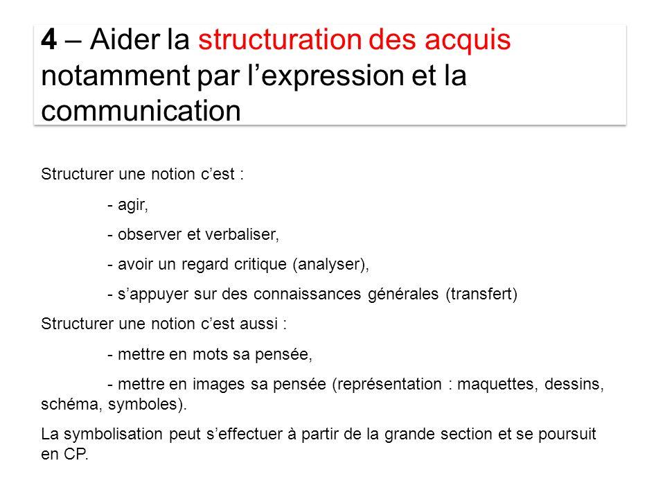 4 – Aider la structuration des acquis notamment par l'expression et la communication