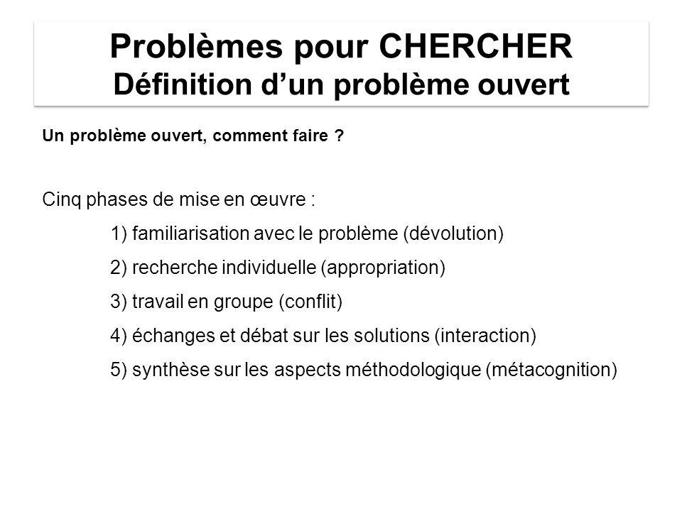 Problèmes pour CHERCHER Définition d'un problème ouvert