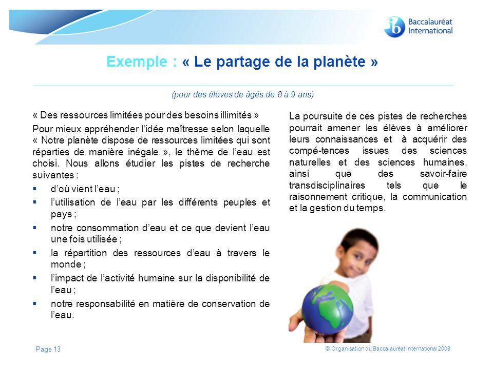Exemple : « Le partage de la planète » (pour des élèves de âgés de 8 à 9 ans)