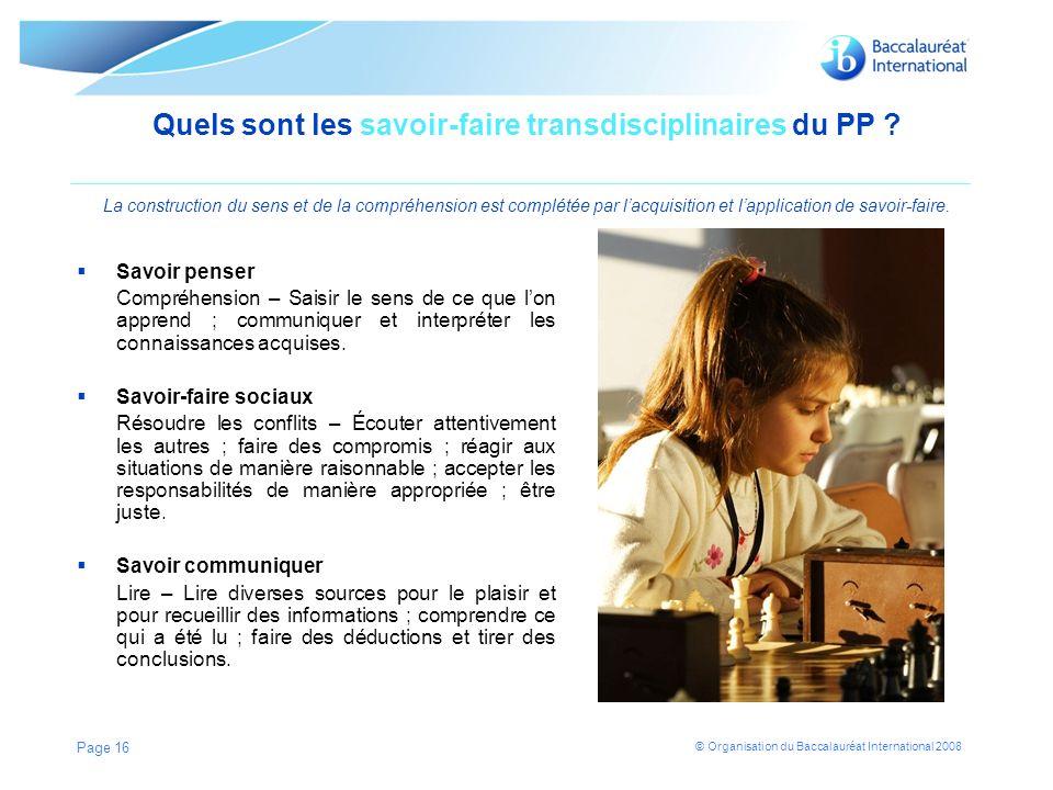 Quels sont les savoir-faire transdisciplinaires du PP