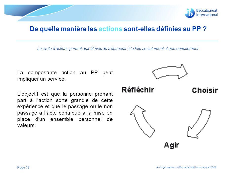 De quelle manière les actions sont-elles définies au PP