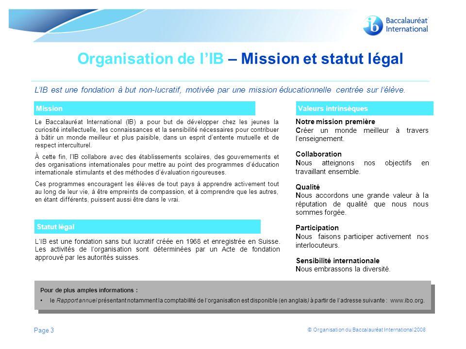 Organisation de l'IB – Mission et statut légal
