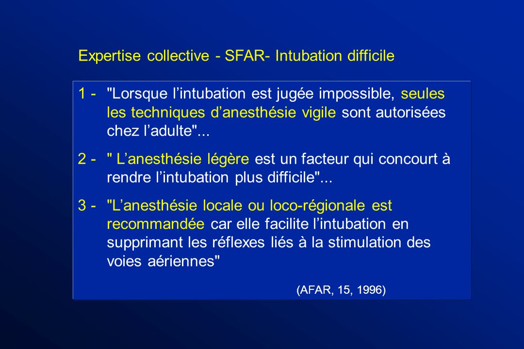 Expertise collective - SFAR- Intubation difficile
