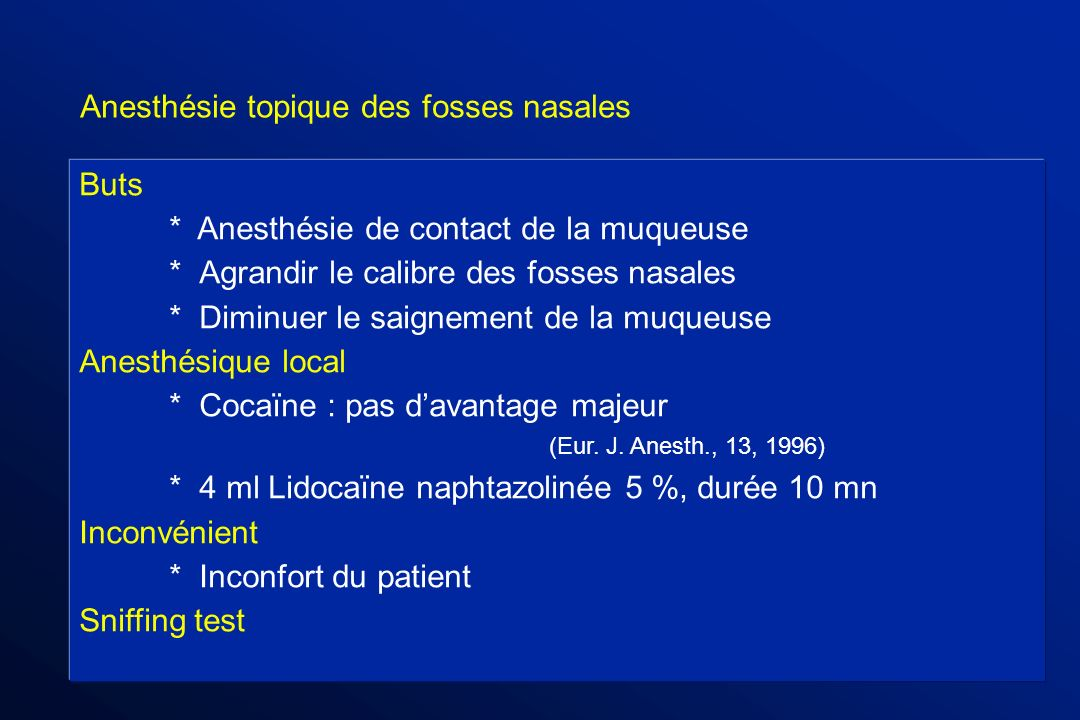 Anesthésie topique des fosses nasales