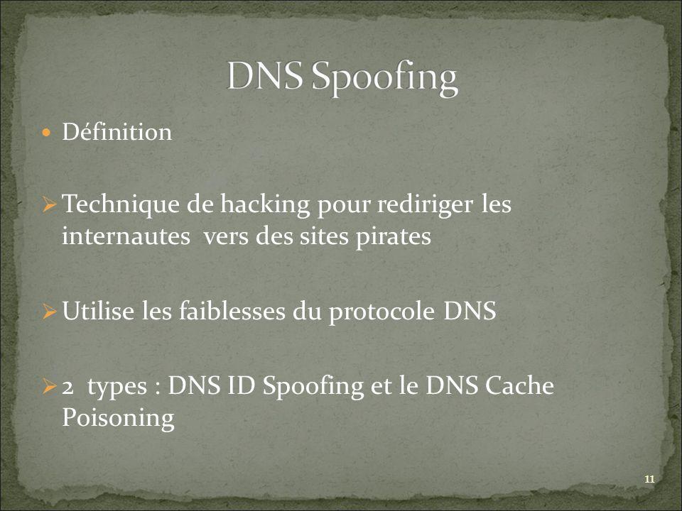 Utilise les faiblesses du protocole DNS