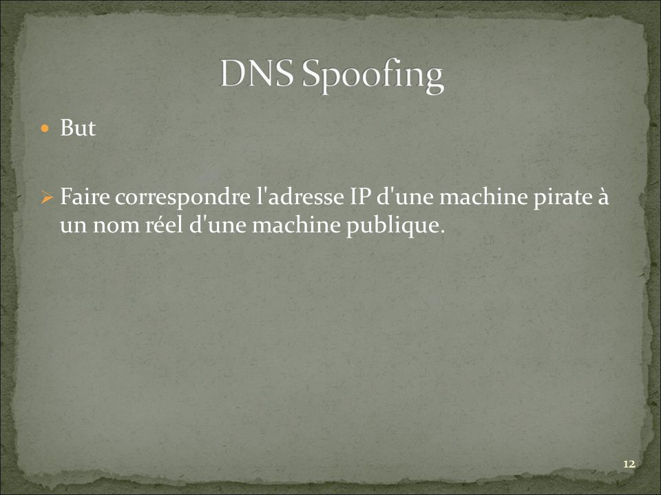 But Faire correspondre l adresse IP d une machine pirate à un nom réel d une machine publique. 12.