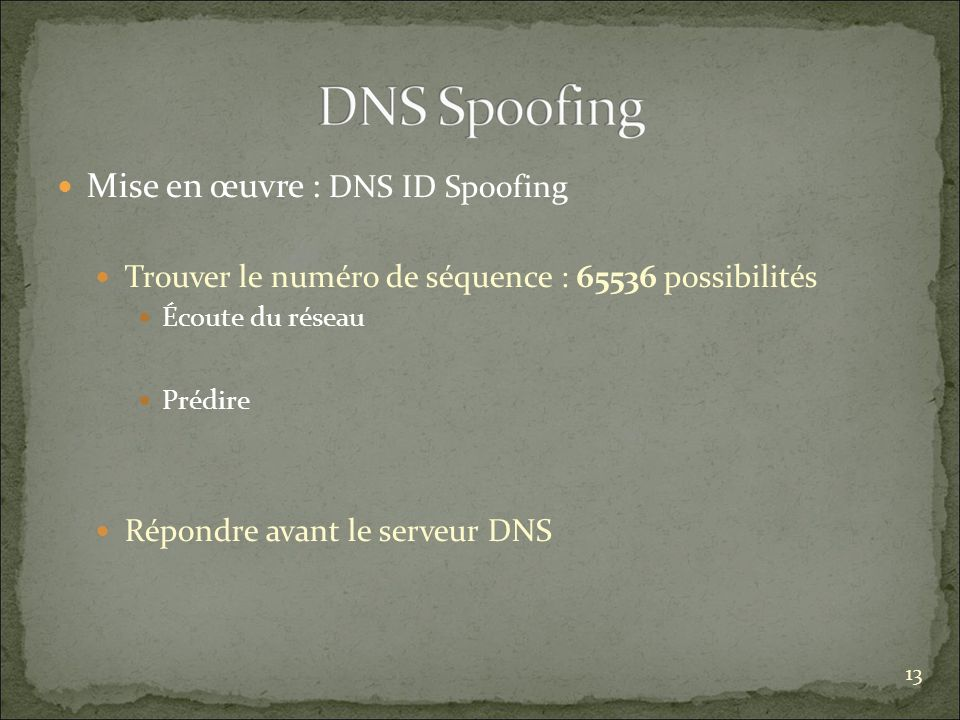 Mise en œuvre : DNS ID Spoofing