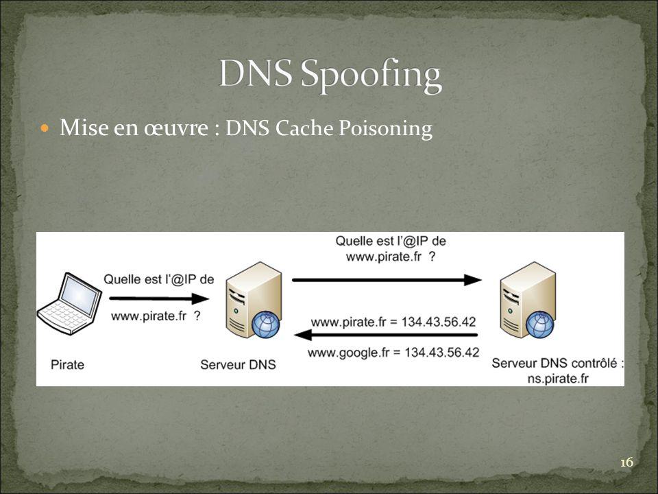 Mise en œuvre : DNS Cache Poisoning