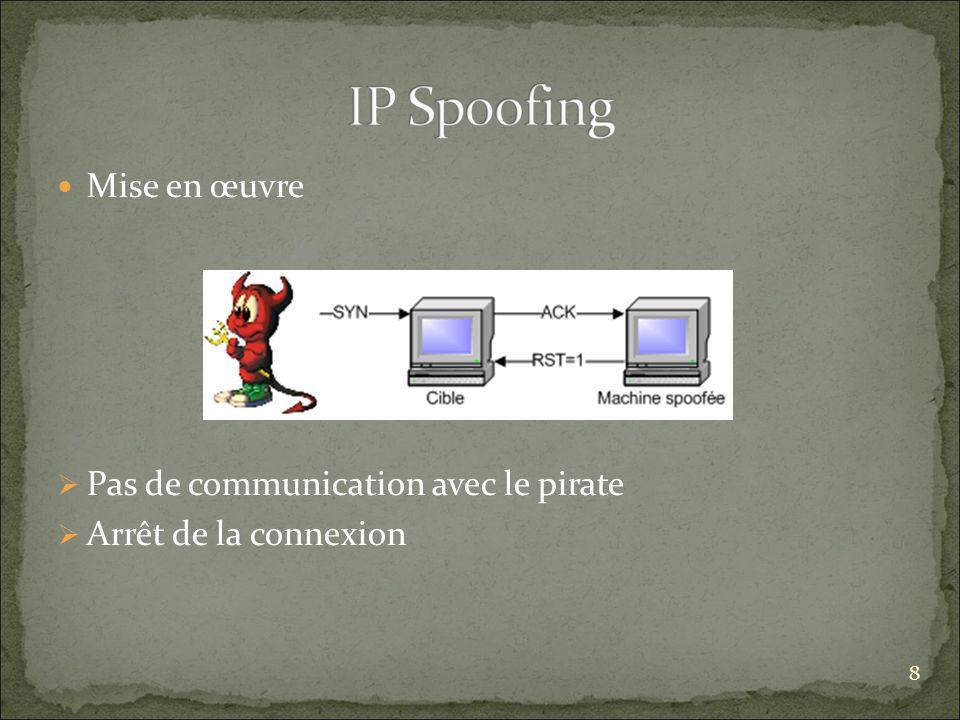 Pas de communication avec le pirate Arrêt de la connexion
