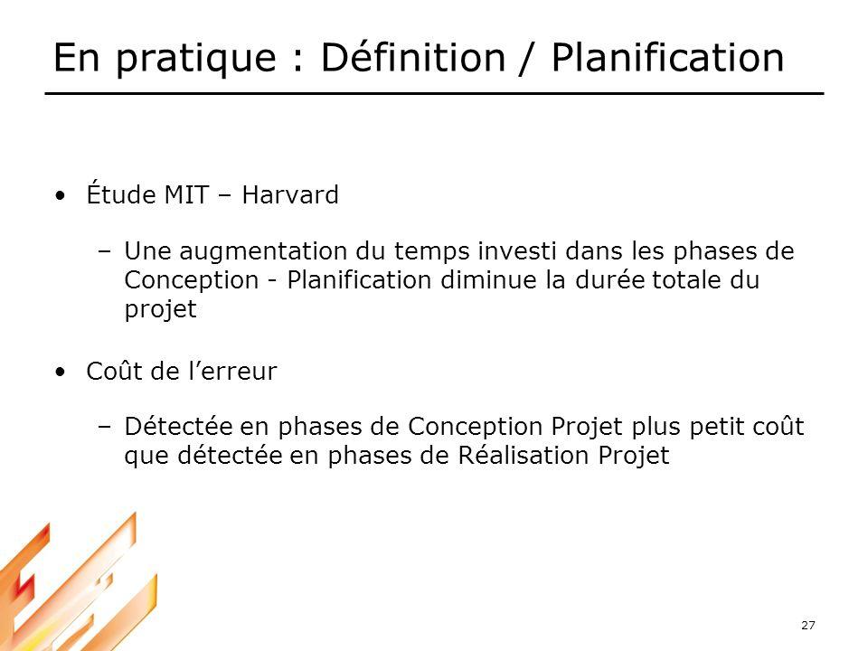 En pratique : Définition / Planification