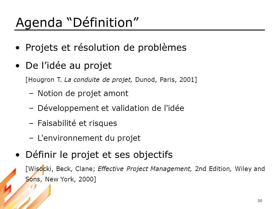 Agenda Définition Projets et résolution de problèmes
