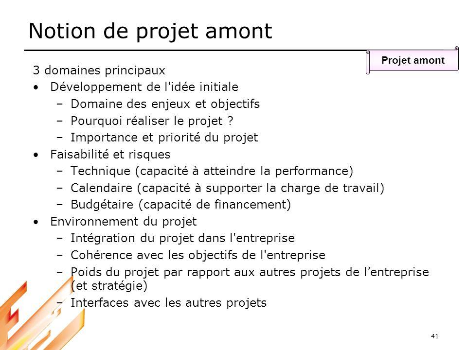 Notion de projet amont 3 domaines principaux
