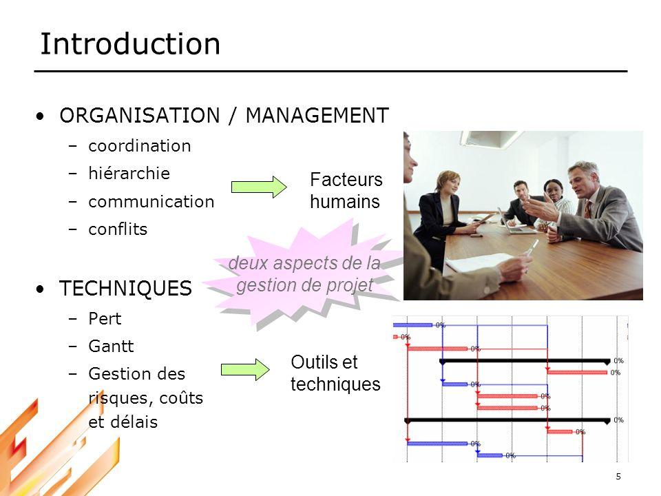 Introduction ORGANISATION / MANAGEMENT TECHNIQUES Facteurs humains