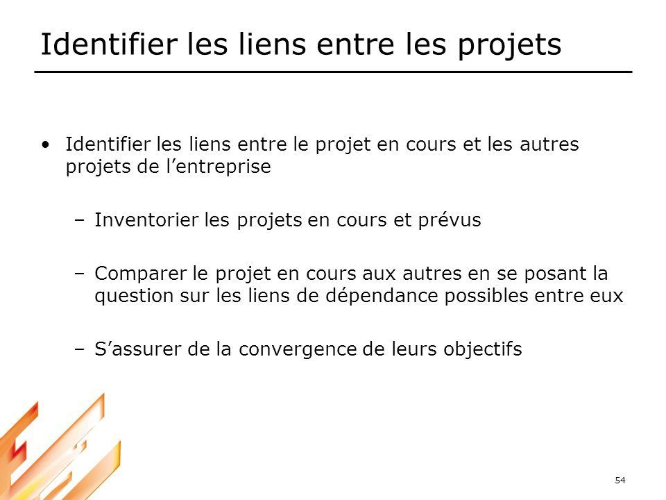 Identifier les liens entre les projets