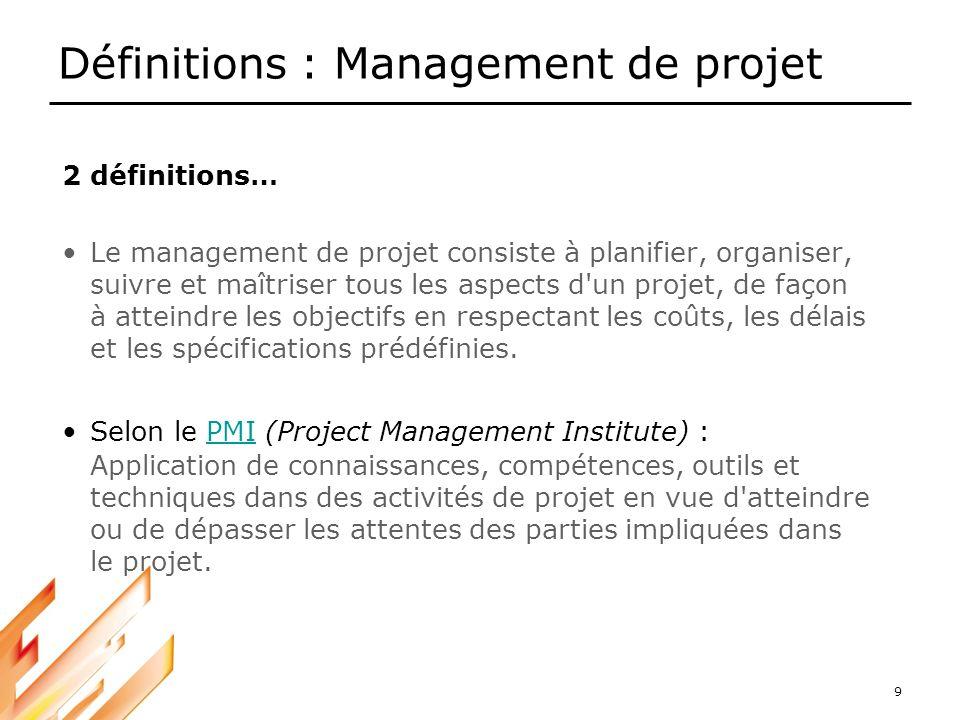 Définitions : Management de projet