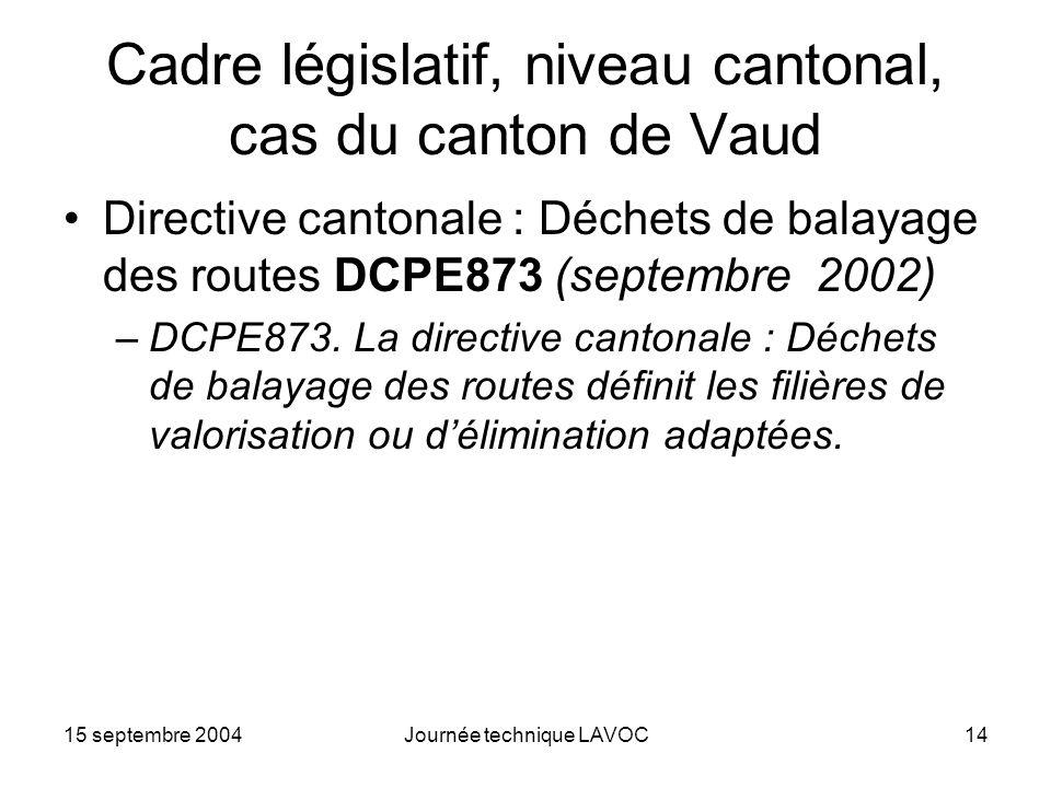 Cadre législatif, niveau cantonal, cas du canton de Vaud