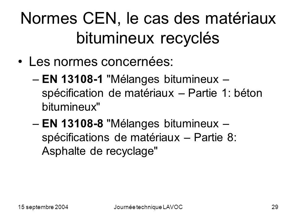 Normes CEN, le cas des matériaux bitumineux recyclés