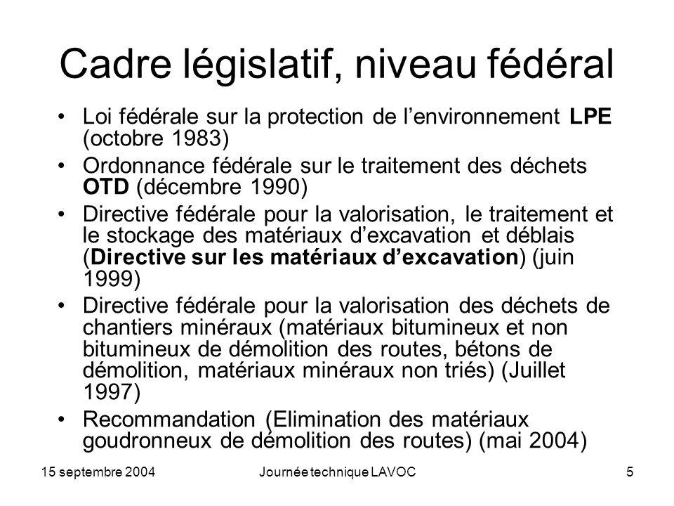 Cadre législatif, niveau fédéral