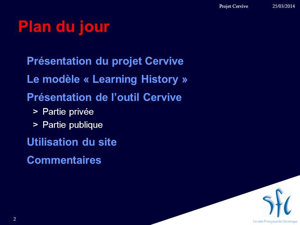 Plan du jour Présentation du projet Cervive