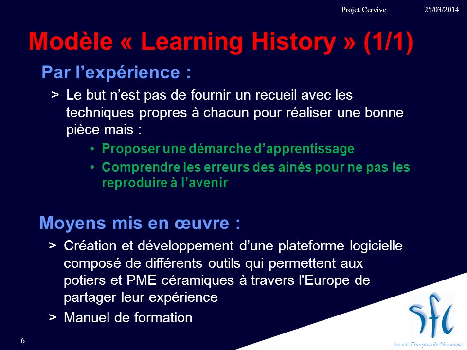 Modèle « Learning History » (1/1)