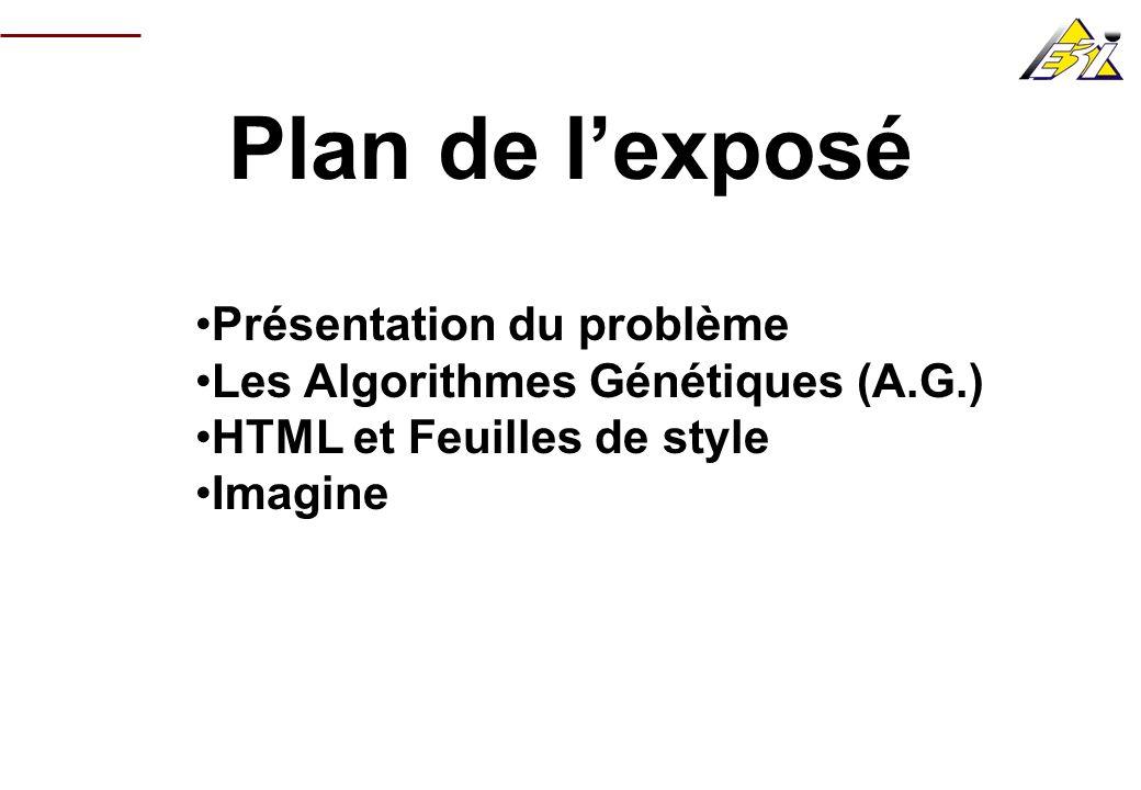Plan de l'exposé Présentation du problème