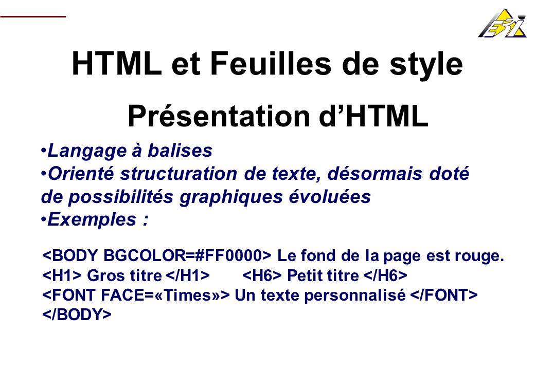 HTML et Feuilles de style