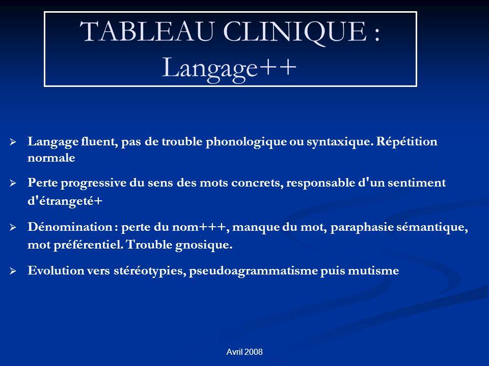 TABLEAU CLINIQUE : Langage++